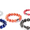 Dyed Jade and Stainless Steel Bead Stretch Bracelets