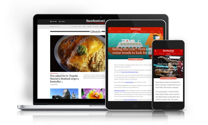 """Sun Sentinel: One-Year or Two-Year Unlimited Digital Access Subscription to the """"Sun Sentinel"""" (Up to 53% Off)"""