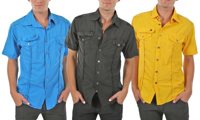 Men's Cargo Button-Down Shirt: Men's Cargo Button-Down Shirt