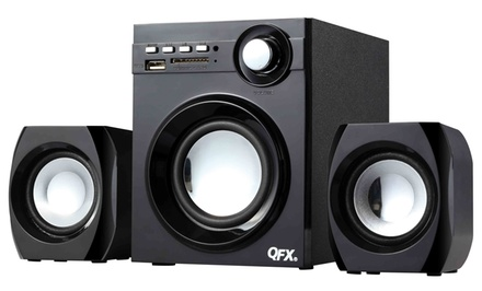 QFX 2.1-Channel Wireless NFC Bluetooth  Speaker System with Subwoofer and USB/SD Port (BT-203). Free Returns.