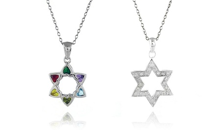 Cubic Zirconia Star of David Pendant in Sterling Silver