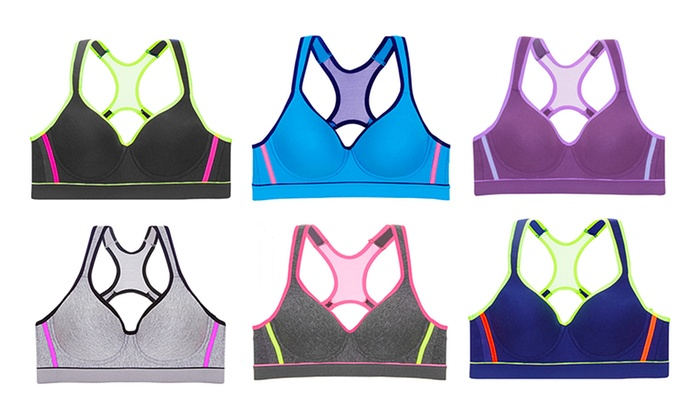 Women's Color Block Sports Bras (6-Pack) | Groupon