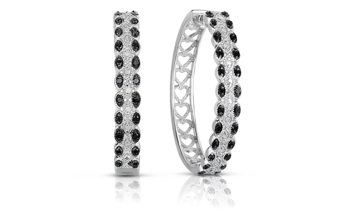 1/2 CTTW Black and White Diamond Hoops in Sterling Silver: 1/2 CTTW Black and White Diamond Hoop Earrings in Sterling Silver