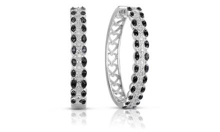 1/2 CTTW Black and White Diamond Hoop Earrings in Sterling Silver