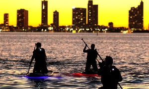 miami beach paddleboards: 90-Minute LED Glow  Sunset Paddleboard Tour for One, Two, or Four at miami beach paddleboards (Up to 62% Off)