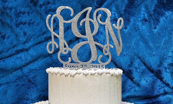 aMonogram Art: Natural or Painted Custom Cake Topper with Monogram and Date from aMonogram Art (50% Off)