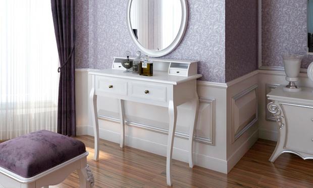 sminkebord m u spejl og skammel fra 799 med gratis levering aalborg tilbud. Black Bedroom Furniture Sets. Home Design Ideas