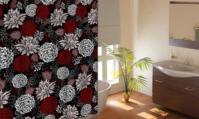 Fabric Shower Curtain with 12 Metal Roller Hooks: Printed Fabric Shower Curtain with 12 Metal Roller Hooks. Multiple Styles Available. Free Returns.