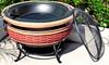 30-Inch Rattan-Wicker-Inspired Magnesia Fire Pit: 30-Inch Rattan-Wicker-Inspired Magnesia Fire Pit