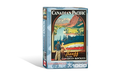 Banff and Lake Louise Retro Poster 1,000-Piece Puzzle