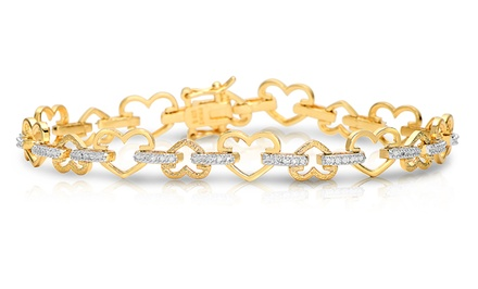 18-Karat Gold-Plated Diamond-Accent Heart Bracelet. Free Returns.
