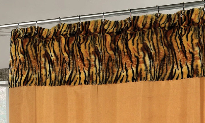 """Panthera"" Faux Fur Trimmed Fabric Shower Curtain: ""Panthera"" Faux Fur Trimmed Fabric Shower Curtain"