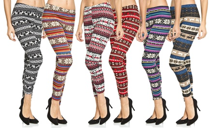 Women's Fleece-Lined Printed Leggings in Plus Sizes (6-Pack)