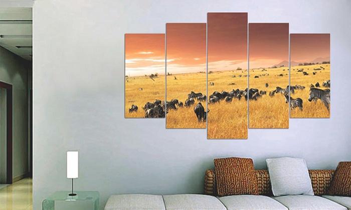 quadri con 5 pannelli decorativi groupon goods