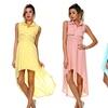 Stanzino Women's High-Low Chiffon Shirt Dress