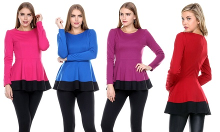 Women's Long Sleeve Peplum Top
