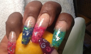 Gretchen Caldwell's Goddess to Goddess Nail Designs at Aplus Hair& Nails: Up to 56% Off No-Chip Manicures and Pedicures at Gretchen Caldwell's Goddess to Goddess Nail Designs at Aplus Hair& Nails