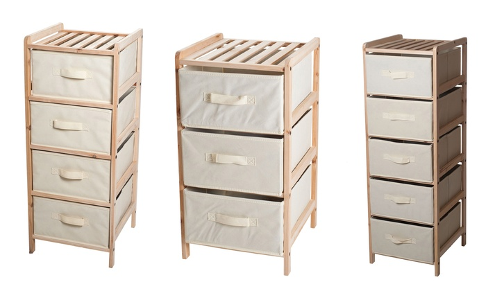 Lavish Home Wood and Fabric Drawer Unit with Shelf Top: Lavish Home Wood and Fabric Drawer Unit with Shelf Top