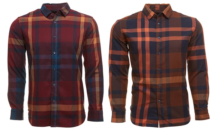 87% Off on Men's Long-Sleeve Flannel Shirt | Groupon Goods