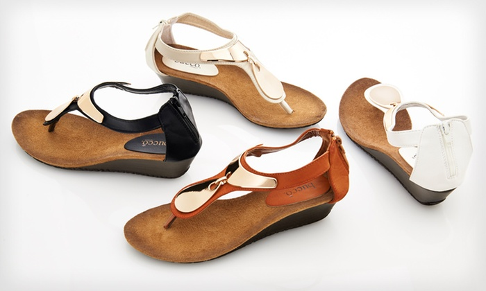 Bucco Demure Wedge Sandals: $24.99 for Bucco Demure Wedge Sandals ($59.99 List Price). Multiple Colors Available. Free Shipping and Returns.