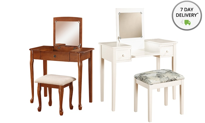 Linon 2-Piece Vanity Sets or Vanity Bench: Linon 2-Piece Vanity Sets or Vanity Storage Bench. Multiple Styles Available.