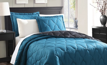 groupon daily deal - 3-Piece Quilted Reversible Coverlet Set in King or Queen from $39.99–$49.99. Multiple Colors Available. Free Returns.