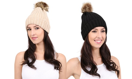 Women's Knitted Bobble Hat for £6.98 With Free Delivery