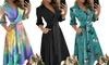 Women's Long-Sleeve V-Neck Shirt Dress