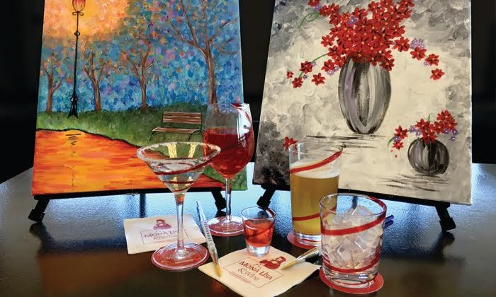 Mona Lisa & Wine - Mona Lisa & Wine: Three-Hour Painting Class with Wine for One or Two at Mona Lisa & Wine (Up to 44% Off)