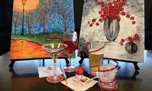 Mona Lisa & Wine: Three-Hour Painting Class with Wine for One or Two at Mona Lisa & Wine (Up to 44% Off)