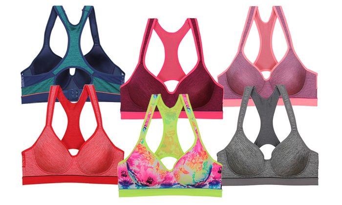 Women's Colorful Racerback Sports Bras (6-Pack)
