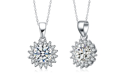 Cubic Zirconia Flower Necklace in Platinum Plated Sterling Silver
