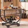 Triesta Antiqued Vintage Metal-and-Wood Wheeled Wine Rack Cart