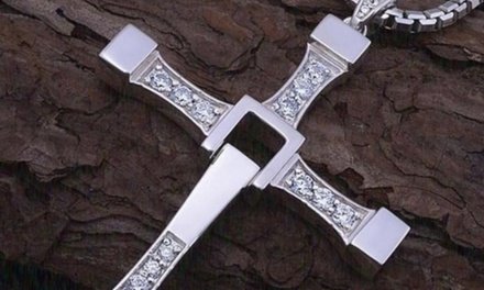 Crystal Mens Cross Necklace