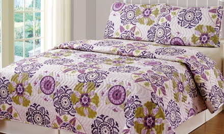 Monaco Purple Quilt Set (3-Piece)