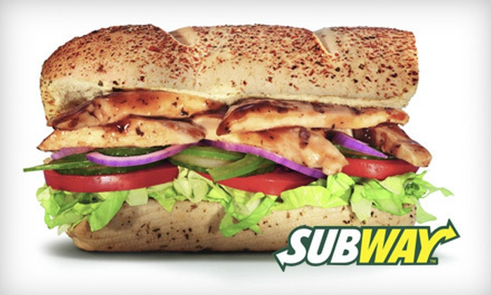 Subway - Livonia: Three Vouchers, Each Valid for $10 Off Your Bill for Sandwiches & Drinks, or Two Catering Platters at Subway (Half Off)