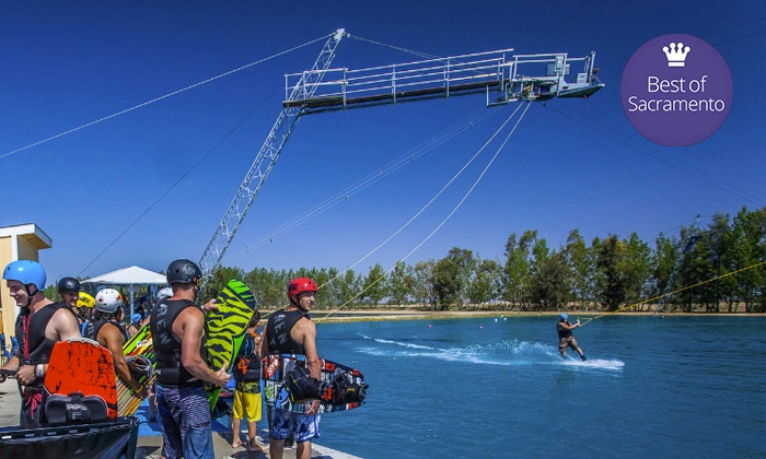 Wake Island Watersports - Roseville : Wakeboarding Cable Pass, Lesson for Four with Cable Pass, or Party for Up to 15 at Wake Island (Up to 51% Off).