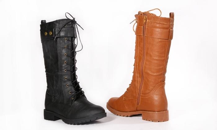 Carrini Mid-Calf Combat Boots: Carrini Mid-Calf Combat Bootsin Black or Cognac. Free Returns.