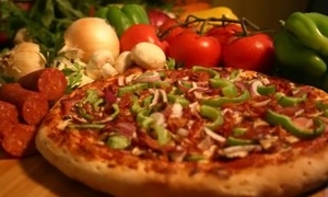 Lamppost Pizza and Backstreet Brewery: Pizza for Takeout or Pizza Meal with Salad and Drinks at Lamppost Pizza and Backstreet Brewery (Up to 55% Off)
