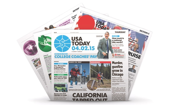 """Gannett (USA TODAY) **NAT** - Chicago: $18 for a 12-Week Home Delivery and e-Newspaper Subscription to """"USA TODAY"""" ($83 Value)"""