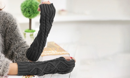One, Two, Three or Four Pairs of Winter Fingerless Ribbed Gloves