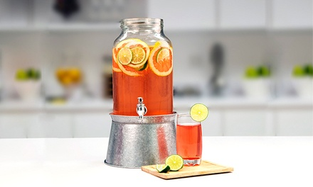 1.5gal. Glass Beverage Dispenser with Galvanized Base