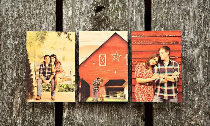 """Custom Wooden Photo Boards or Blocks: $39 for Five Photo Blocks, or One 8""""x10"""" or Three 5""""x7"""" Photo Boards from PhotoBarn ($95 List Price). Free Shipping."""