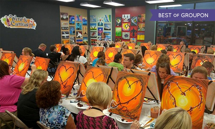 adult painting class wine canvas louisville groupon