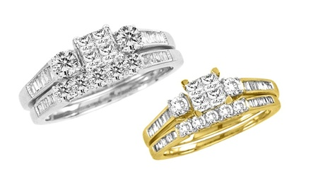 groupon daily deal - 7/8 CTTW Diamond Rings in White Gold or Yellow Gold. Free Returns.