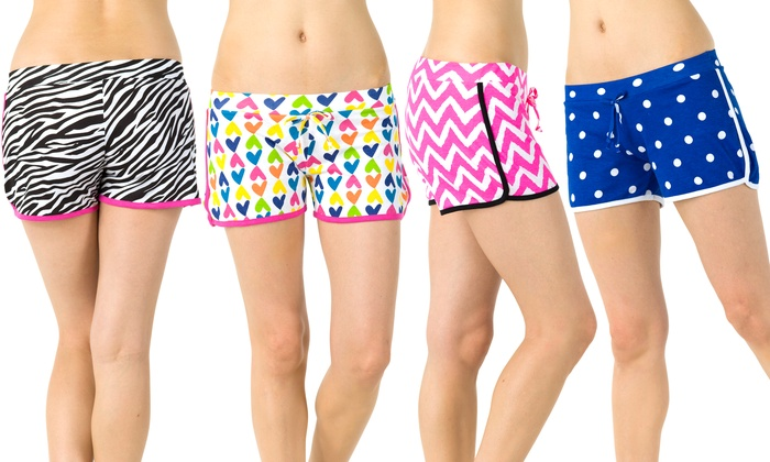 Women's Printed Lounge Shorts (4-Pack) (Size XL)