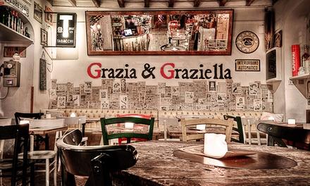 Menu italiano di coppia e una bottiglia di vino a scelta da Grazia & Graziella a Trastevere (sconto 67%)