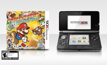 groupon daily deal - Nintendo 3DS System (Refurbished) and Paper Mario: Sticker Star Bundle. Multiple Colors Available. Free Returns.