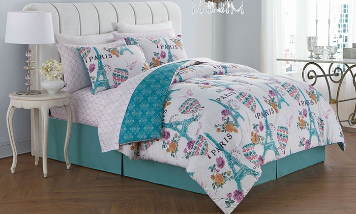 up to 75 off on paris themed bedding sets livingsocial shop. Black Bedroom Furniture Sets. Home Design Ideas