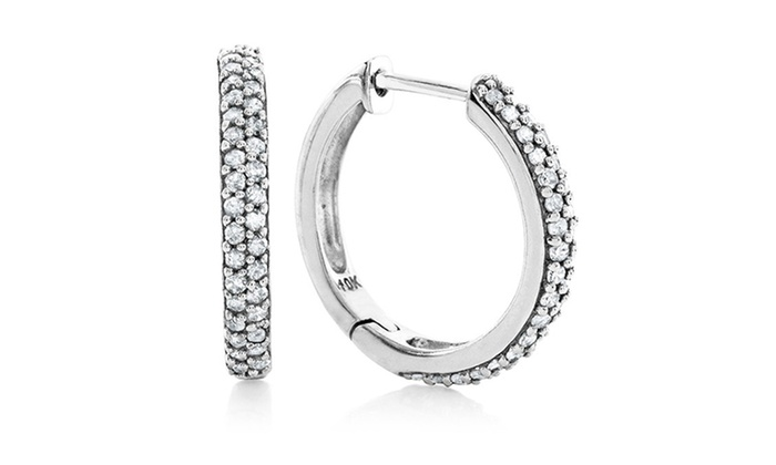 1/2-CTTW Diamond Huggie Hoop Earrings in 10K White Gold: 1/2-CTTW Diamond Huggie Hoop Earrings in 10K White Gold